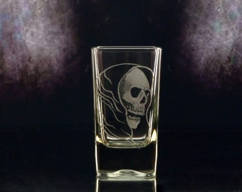 Shot Glass grim reaper clear glass shot glass,skull  glassware, gifts for him ,barware , custom glassware, engraved glass
