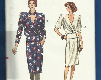 Vintage 1985 Vogue 9467 Wrap Front Blouse  with Peplum & Shoulder Pads and Pencil Skirt with Front Seam Pockets  Size 8-10-12 UNCUT