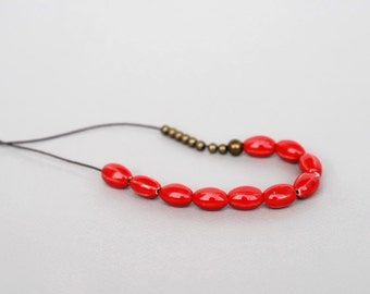 Red Ceramic Necklace, Clay Necklace, Long Necklace