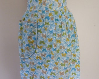 60's Blue Butterfly Apron Sweetest Novelty Print