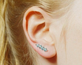 Sterling Silver Ear Climbers, Aqua Blue Pin Earrings, Swarovski Crystal Stud Earrings, Long Studs, UK Seller