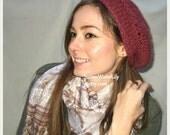 Jane Austen Knit's Regency era mob cap/ slouchy hat, color of your choice