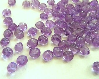 Amethyst beads, small, micro, 4 mm, untreated, translucent, purple, rondelle, 10pcs
