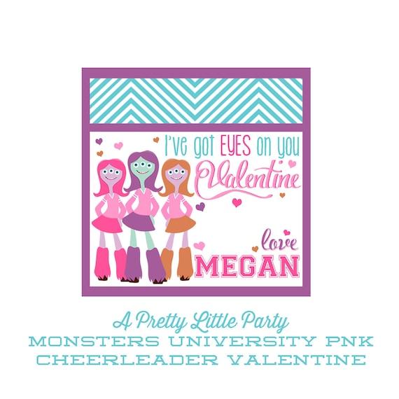 Monsters U PNK Valentines -Personalized PNK Cheerleader Valentine - Party Supplies
