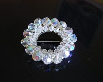 1950s Aurora Borealis Austrian Crystal Brooch / Wedding / Bridal / Wreath / Jewelry / Jewellery