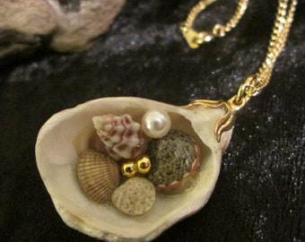Last Summer Remembered - Natural Shell and Bead Pendant on Gold Plated Chain