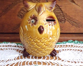 Norcrest Winking Owl Bank, Yellow Moving Eye Owl Coin Bank