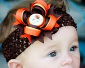 My First Thanksgiving Hair Bow Headband - Babys First Thanksgiving - Brown and Orange Hair Bow - Thanksgiving Baby Headband - Newborn Bow