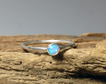 Light Blue Opal Sterling Silver Tiny Stacking Ring