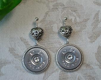 Shotgun Shell Jewelry ~ 12 Gauge ~ Filigree Heart Swarovski Crystal Earrings ~ Made in USA