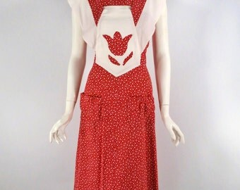 70s From 40s Polka Dot Sun Dress in Red. Pinafore Housedress - sm