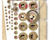 Cats 1/2, 1 & 2.5 inch Circles for Jewelry Pendants - Digital Collage Sheet Download -749- Instant Download Printables