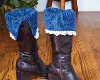 Download Knitting Patterns split lace boot cuffs