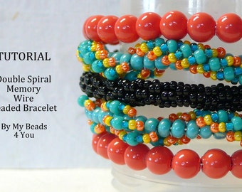 PDF Beadwork Tutorial, Seed Bead Bracelet Tutorial, PDF Beading Pattern, Pdf Memory Wire Bracelet, Beadwork, Pdf Spiral Bracelet Pattern