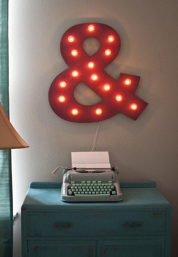 """24"""" Large Custom Ampersand Vintage Distressed Marquee Lighted Wood.... Christmas, Wedding Bedroom Art"""