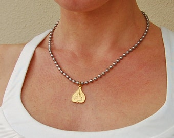Gold Buddha Necklace . Stainless Steel Chain