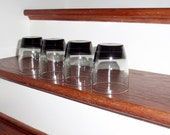 """4 LIBBEY CLASSIC SMOKE Gray Black Smoke 4"""" Rocks Double Old Fashioned Tumblers Glasses Crystal Four Heavy Bottom Set Excellent Condition"""