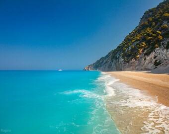 Beach decor, blue beach landscape wall art, photo print paradise beach, calm paradise island, Greece, turquoise blue Mediterranean