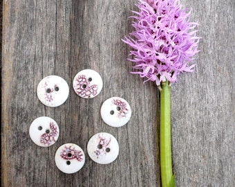 Pink And White Sewing Buttons, Pink Lace Buttons