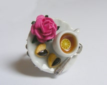 Food Jewelry, Lemon Tea and Chocolate Shortbread, Miniature Food Ring, Miniature Food Jewelry, Handmade Jewelry Ring, Mini Food Jewelry