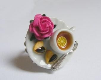 Food Jewelry, Lemon Tea and Chocolate Shortbread, Miniature Food Ring, Miniature Food Jewelry, Handmade Jewelry Ring, Mini Food Jewelry