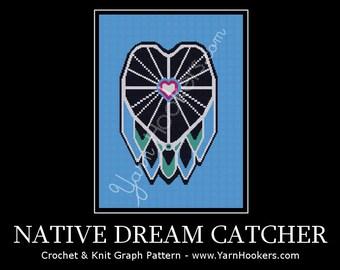 Native Dream Catcher -  Afghan Crochet Graph Pattern Chart - Instant Download