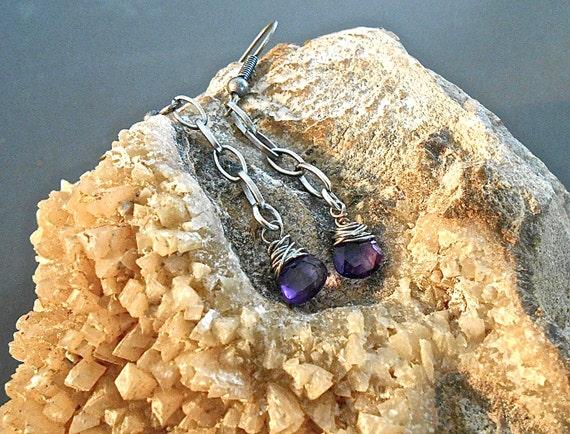 Earrings Amethyst Heart Briolette Burnished Silver Chain Dangle Orchid Purple