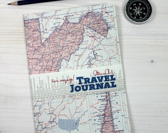SALE % NOTEBOOK, USA, West Virginia, Charleston, Wheeling, travel journal, diary, notebook, atlas, map, vintage