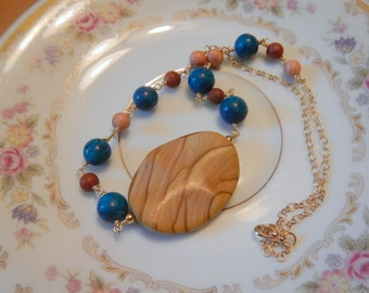 Brown Jasper Pendant Necklace, with Blue Stone Accent Beads in Gold