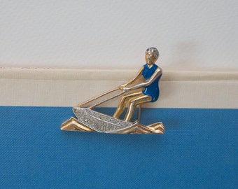 Art Deco Girl Waterskiing Enamel and Rhinestone Pin 1940s Vintage