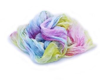 pink scarf, pink silk scarf, blue scarf, yellow scarf - French trianon - pink, yellow, blue silk ruffled scarf.