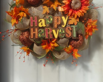 Autumn Wreath - Fall Wreath - Fall Decoration - Deco Mesh Wreath - Door Decoration - Outdoor Fall