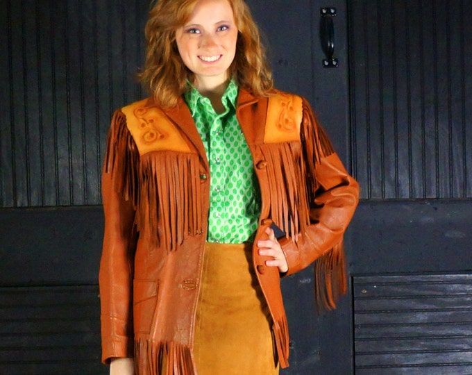 Western Fringe Jacket 50s Two Tone Leather Tooled Show Coat Womans Small Size 2 4 6 Handmade Rust & Tan Honky Tonk by Chris Line Originals