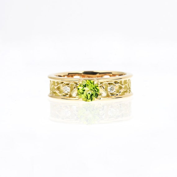 Peridot ring filigree diamond ring peridot by for Peridot wedding ring set