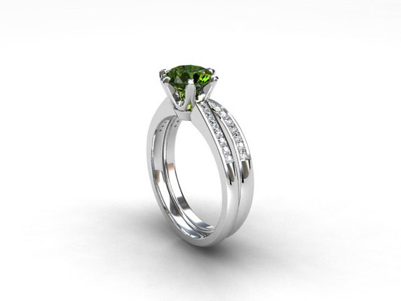 Engagement ring set peridot ring engagement ring wedding for Peridot wedding ring set