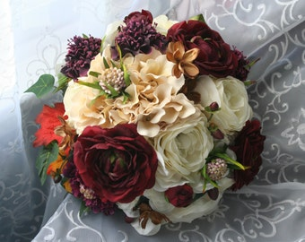 Autumn Rose Bridal Bouquet & Boutonniere Set, Rustic Fall Wedding, Ivory Marsala Orange, Shabby Chic, Ranunculus, Burlap and Lace, Berries