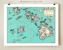 HAWAII MAP PRINT - wall art - turquoise blue - personalized artwork - wedding gift idea - vintage map - Hawaiian home decor - coastal art