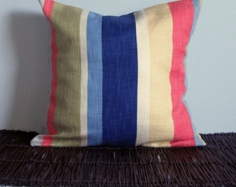 Nautical Stripes Pillow Cover- Blue and Coral Decorative Pillow Cover 16x16