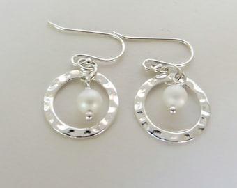 Pearl in Hoop Earrings. Sterling Silver Hoop with Pearl. Drop Earrings. Dangles.