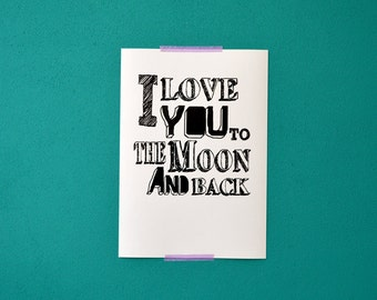 I love you to the moon quote print