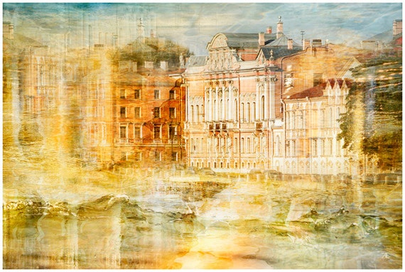 Large photography artwork, St Petersburg city Landscape art print, orange watercolor wall art poster, yellow living room decor, 20x30, 24x36
