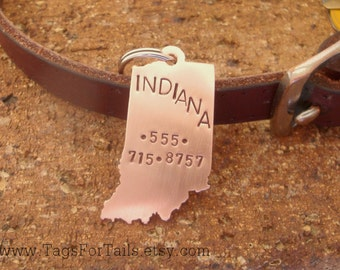 Indiana State Pet ID Tag - choose any state -  Cat or Dog Pet Identificaiton Tag - Handmade