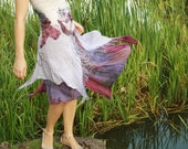 Alternative wedding dress Bohemian bridesmaid's dress Purple white dress