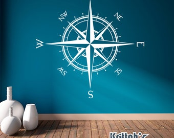 Compass Rose Vinyl Wall or Ceiling Decal (90 x 90 inches) K514