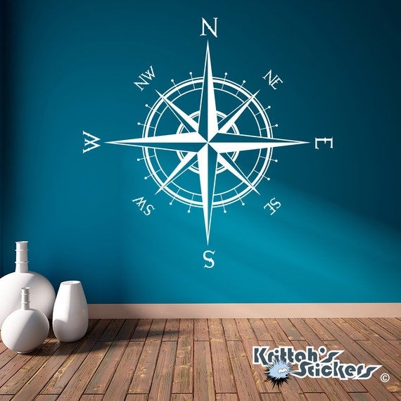 Compass Rose Vinyl Wall Or Ceiling Decal Many By