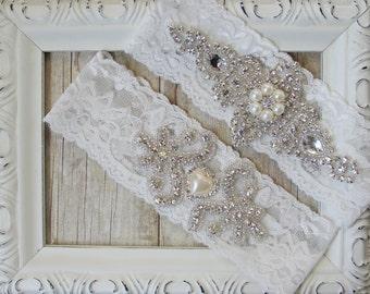 Garter, Customizable Lace Wedding Garter Set, Bridal Garter Set, Lace Garter with Pearls and Rhinestones, Crystal Bridal Garter, Prom Garter