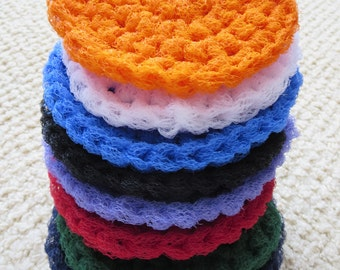 Dish Scrubbies. SET OF 3. Crochet Nylon Dish Scrubber. CHOOSE your colors. Great housewarming or wedding shower gift.