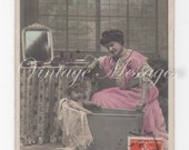 Original Vintage Postcard  - French writing - French Stamp