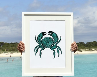 Turquoise green  crab A3 plus Wall decor poster -The big crab sea life print SPP061