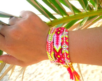 Neon  Friendship Bracelet. Pink  / Fuchsia